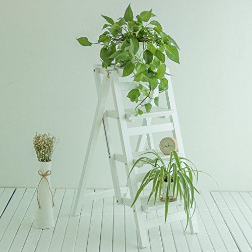 LIU UK Folding Chair Installazione scaletta Senza gradini, scaletta Pieghevole Multifunzione, sgabelli da Bar in Legno massello, scaffalature Interne a Scomparsa, fioriera (Colore : Bianca)