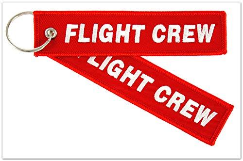 """Preisvergleich Produktbild Schlüsselanhänger - """" FLIGHT CREW """" (beidseitig) inkl. Schlüsselring - Rot / Silber-weiße Schrift"""