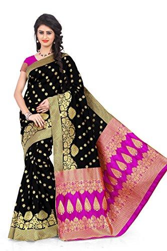Woman style Woman's Banarasi Silk Black Sarees with Poly Cotton blouse