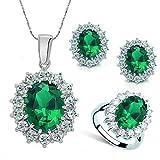 Toporchid Damen Ohrringe Halskette Schmuckset Prinzessin Königin Kostüm Abendkleid Zusätze (Grün)