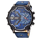 Holeider 2018 Luxus Edelstahl Uhren Uhr Leder Datum Analog Quarz Herren Armbanduhren Schwarz Blau für Männer (Blau)