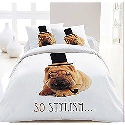 Maria cama & lino-3d perro carlino Animal Print Funda de edredón set juego de ropa de cama con funda de almohada, matrimonio