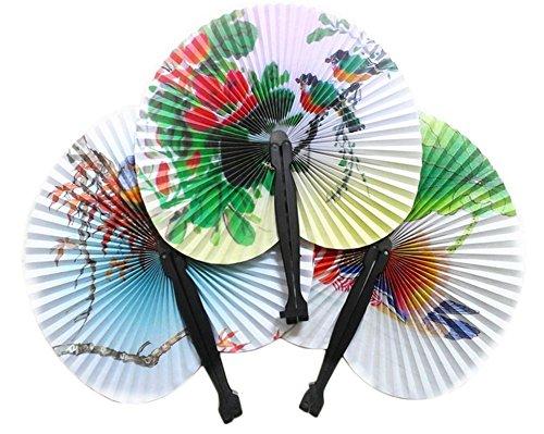 Kleine Schätze Handtaschen (CAOLATOR Faltfächer Handfaecher Retro Faltender Kleiner Runder Papierfächer Dame Chinesische Stil Klappfächer Fächer 5 Stücke)