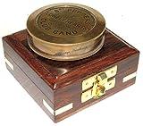 Kompass aus Messing mit Holzkiste Premium Qualität Taschenkompass Epstein London