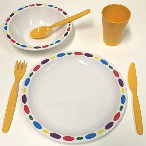 Harfield en Plastique Polycarbonate pour Enfant Galets Ensemble de Vaisselle – Assiette, Bol, Gobelet et Couverts (Jaune)