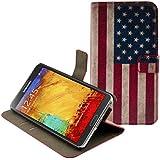 kwmobile Hülle für Samsung Galaxy Note 3 N9000 / N9005 - Wallet Case Handy Schutzhülle Kunstleder - Handycover Klapphülle mit Kartenfach und Ständer Flagge USA Design Blau Weiß Rot