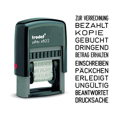 Trodat Printy 4822 Wortbanddrehstempel Schrifthöhe, 4 mm, Schwarz