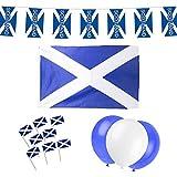 Escocia Escocés para fiestas, diseño de la bandera de: 12M de banderines + 5FT X 3FT + 24globos