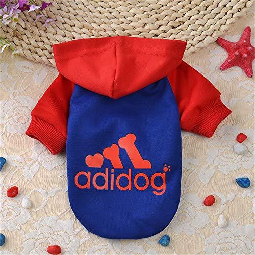 Techrace Adidog Hunde Warm Hoodies Mantel Kleidung Pullover Haustier Welpen T-Shirt,Sportliches Design Warme Kapuzenmantel-Mantel-Kleidung für großen Hund - Rot Hut, L
