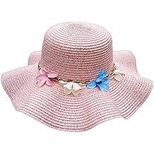 youkara verano sombrero de paja de moda las niñas playa sol sombrero gorra gorro de ala ancha con flores (rosa)