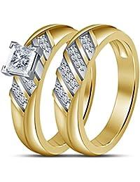 Fashion corte princesa Vorra ideal para Pedida de mano juego de anillos de boda en 14