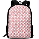 best& Chrismtas Pink Snowmen School Backpack Bookbag for College Travel Hiking Fit Laptop Water Resistant