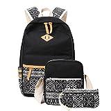Neuleben Schulrucksack + Schultertasche + Geldbörse Schultaschen 3 Set aus Canvas für Jungen Mädchen (Schwarz D)