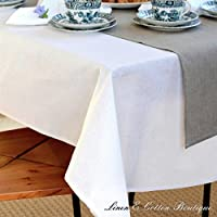 Linen & Cotton Tovaglia da Tavola In Stoffa AMELIA, 50% Lino, 50% Cotone - Bianco (147 x 250cm)