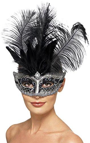 Smiffys 27557 Déguisement Adulte Masque de Venise Colombine, Gris, Taille Unique