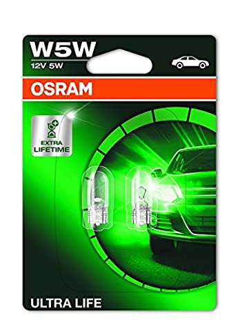 OSRAM ULTRA LIFE W5W halogen, license plate position light, 2825ULT-02B, 12 V passenger car, double (Gt Freno Posteriore)