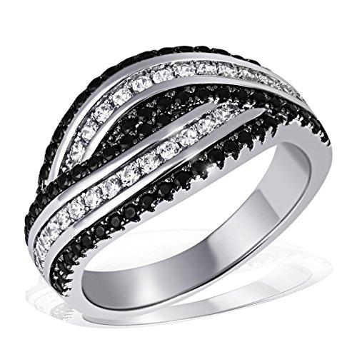 Goldmaid Damen-Ring 925 Sterling Silber rhodiniert Zirkonia schwarz-weiß Gr.60 (19.1) Pa R6843S60 Schmuck