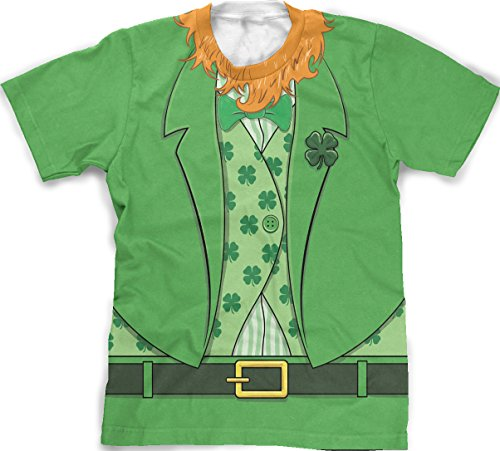 Crazy Dog Tshirts Men's Bearded Leprechaun T-Shirt Funny Saint Patrick's Day Irish Outfit Tee (Green) L - Herren - L (St Patty Day Kostüm)