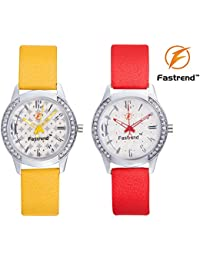 Fastrend Quartz Ladies Watch Combo - Genuine Leather Analog Watches For Women - Round Wrist Watches - Red And...