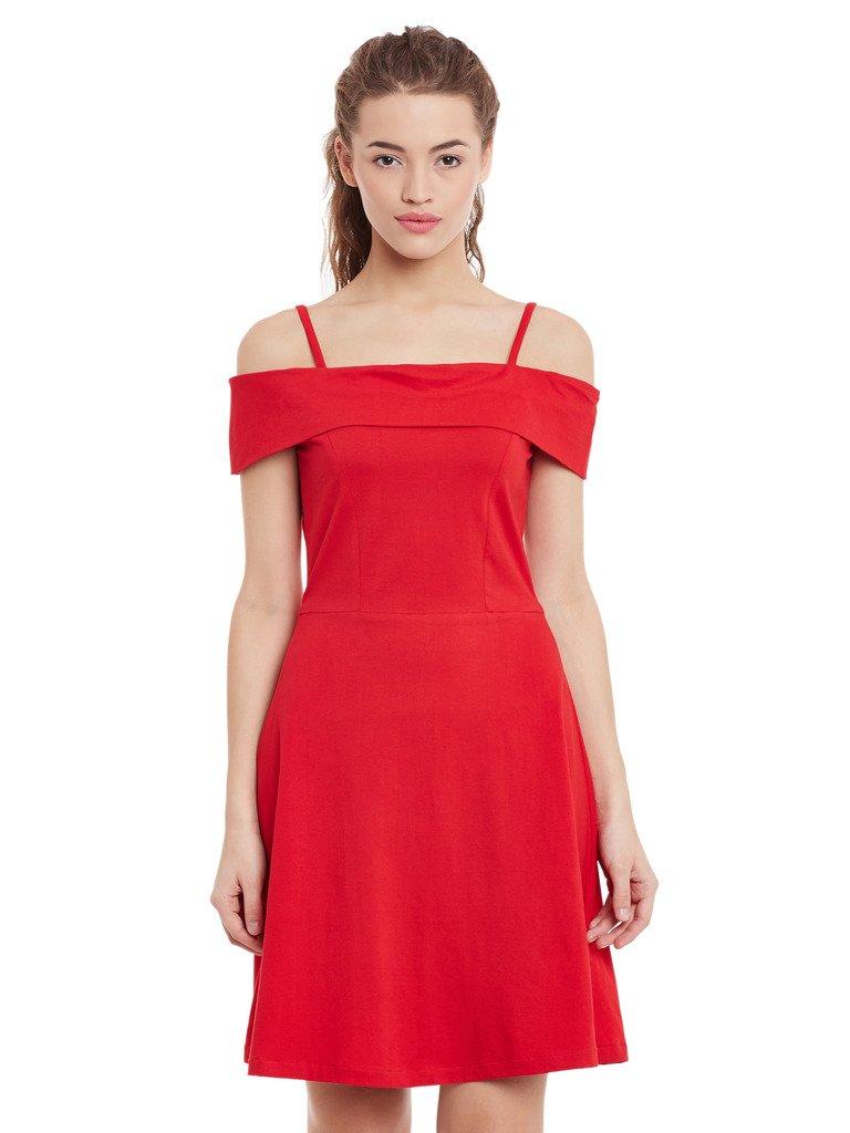 Miss Chase Women's Cotton Off Shoulder Dress