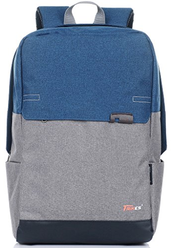 Binlion Taikes Unisex PU leather Backpack Shoulder Backpack Messenger Cross Body Bag and Unisex Canvas Backpack Grey and Blue