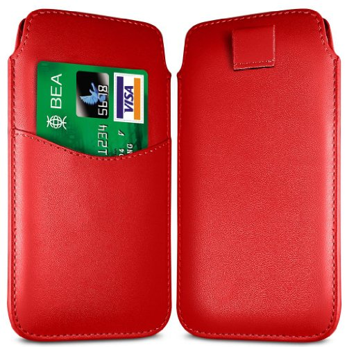 N4U Online Rot Card Slot Premium-PU-Leder Flip Pull Tab Hülle Tasche für Nokia 108 Dual Sim