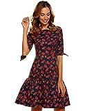 Chigant Damen Halbarm Floral Freizeitkleid Baumwolle Kurz Casual Kleid Blumenkleid Druckkleid
