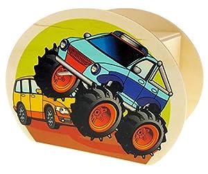 Hess Holzspielzeug 15220 - Hucha de Madera con Llave, diseño de Camiones de Monstruos, Regalo de cumpleaños para niños, Aprox. 11,5 x 8,5 x 6,5 cm