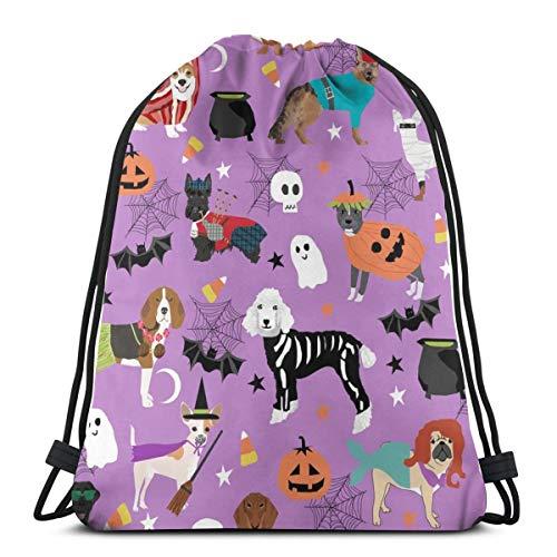 Hunde in Halloween-Kostümen - Dog Breeds Dressed Up - Purple_232 Rucksack Rucksack Umhängetaschen Leichte Sporttasche zum Wandern Yoga Gym Schwimmen Travel Beach (Junge Hund Halloween-kostüme)