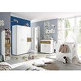 storado.de Babyzimmerset Sienna 8tlg weiß matt asteiche Komplett Set mitwachsend Gitterbett