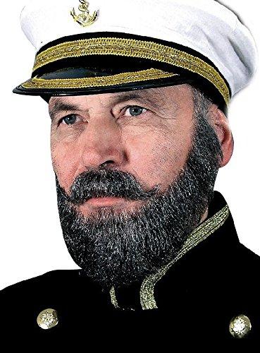 (Kapitän Bart Set aus Echthaar zum Kostüm Karneval Fasching braun)
