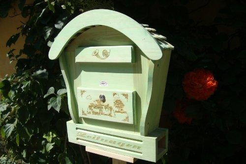 HBK-RD-MOOSGRÜN Briefkasten, Holzbriefkasten moosgrün grün amazon natur Briefkästen Postkasten Runddach