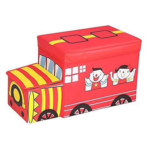 Children's Favorite Cartoon Car Storage Stool Train Red