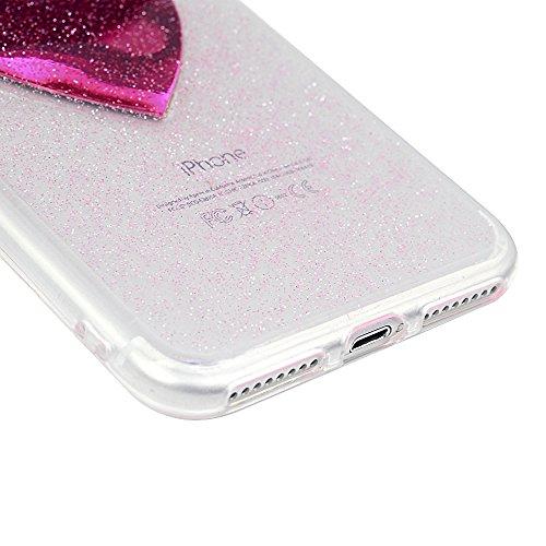 Cover per iPhone 7 Plus Silicone e Bling Glitter Brillanti, iPhone 8 Plus Custodia Morbida TPU Flessibile Gomma - MAXFE.CO Case Ultra Sottile Cassa Protettiva per iPhone 7 Plus / iPhone 8 Plus - Acchi Cuore