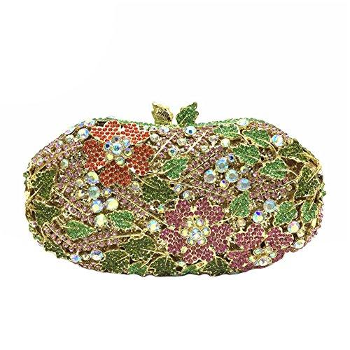 Icegrey Damen Clutch Abendtasche Handgemacht Bunter Handtasche Geldbörse Glitzertasche Strass Kristall Tasche mit wechselbare Trageketten Grün 18x12x5cm Grün