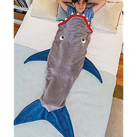 Minetom Ragazzi Ragazze Coperte Squalo Flanella Shark Sleeping Bags Coda Sirena Trapunta Per I Bambini Grigio-Blu One Size - Flanella Bambino Coperte