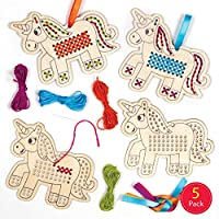 Baker Ross AT317 Unicorn Wooden Cross Stitch Decoration Kits, Arts and Crafts for Kids (Pack of 5)