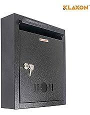 Klaxon High Grade Metal Mail Box/Letter Box (Black) -Small