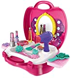 #1: Toys Bhoomi Girls Bring Along Beauty Suitcase Makeup Vanity Toy Set, Pink