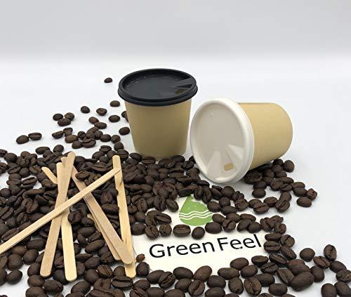 Gobelets en papier jetables à paroi unique en kraft et couvercles noirs 120 cl 227 cl 30,5 g x 50 à 1000 boissons froides/chaudes à emporter (500 pièces)