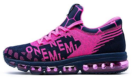 ONEMIX OMEMIX Scarpe Uomo Donna Sportive Outdoor Running Sneakers Fitness Interior Casual Blu/Roso