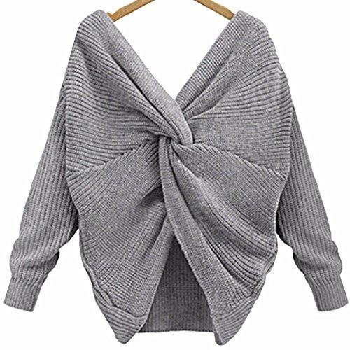 Femme découpée Pull ample Pull en V profond Dos Criss Cross manches longues TOPS T-shirt Chemisier Automne Hiver taille unique gris gris