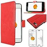 ebestStar - Compatible Coque iPhone 7 Plus, iPhone 8 Plus Apple Etui PU Cuir Housse Portefeuille Porte-Cartes, Rouge +Film Protection Verre Trempé [Appareil: 158.2/158.4 x77.9/78.1 x7.3/7.5mm, 5.5'']