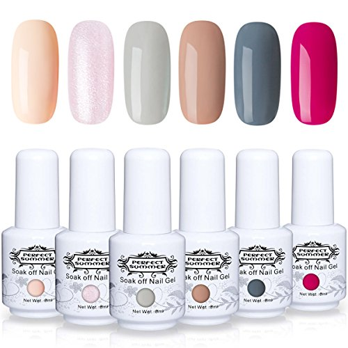 Lot Vernis à Ongles Gel Semi Permanent - Perfect Summer Soak Off UV LED Gel Nail Polish Manucure 6 Couleurs x 8ml Lot 02