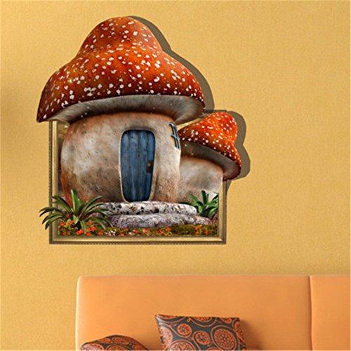 YUCH Mushroom House Mur Papier Peint Chambre Salon TV Canapé Autocollants D'Arrière-Plan