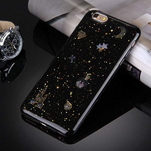 Pour iPhone 6 / 6s, Flash Powder Twinkling NightSky Premier quart de lune Pattern Soft TPU Housse de protection JING ( SKU : Ip6g3366c ) Ip6g3366a