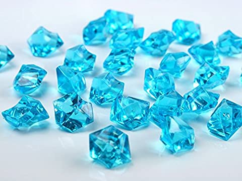 50 x ACRYLIC ICE CHUNKS - WEDDING TABLE SCATTER - VASE FILLERS (Tuquoise)