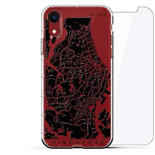 Luxendary Designer, 3D-Druck, Mode, Luftpolster-Kissen, 360 Glas-Schutz-Set für iPhone XR - Klare Albanian Flagge, Straßenkarte Singapur, farblos