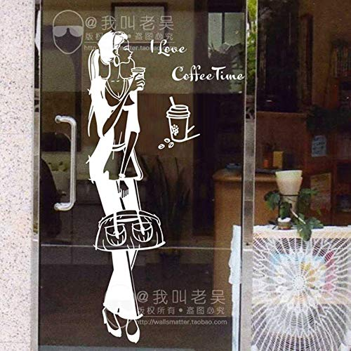 yaoxingfu Milch Tee café cafés Aufkleber EIS Brot mädchen Kuchen küche wandkunst Aufkleber Aufkleber DIY Dekoration wandbild dekor schwarz 28x105 cm
