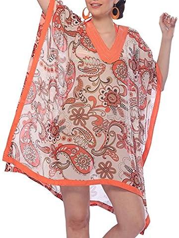 La Leela SUPER LIGHTWEIGHT SHEER CHIFFON 5 oz BATHING SUIT Vintage Dancing Paisley Casual Hawaiian 4 IN 1 BEACH BIKINI COVER UP TUNIC TOP LOUNGEWEAR BASIC DRESS KAFTAN Orange Valentines Day Gift 2017